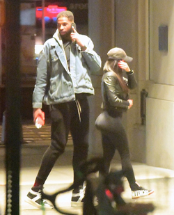 Photo of Lani Blair and Tristan Thompson​ entering his hotel late at night.