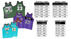 Sample jerseys and sizes