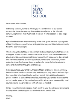 Statement from his school