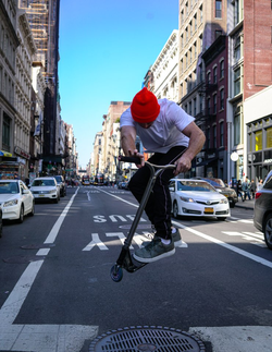 Kota, 5-time BMX and scooter champion, 2 Guinness world record holder in AKINGSNY denim.