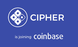 Cipher Browser banner promo of them joining Coinbase​.