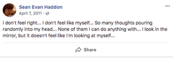 Facebook post in 2011