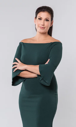 Brynn Gingras wearing a green dress