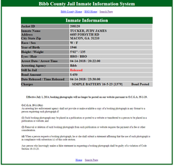 Screenshot of Judy Tucker's records on the Bibb County Jail Inmate Information System                                                                          [11]                                                                       ​