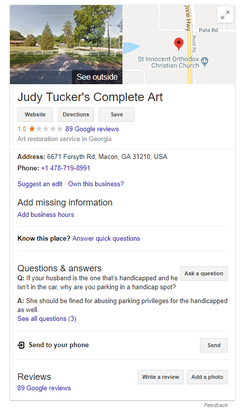 Judy Tucker's Complete Art Restoration's knowledge card on                               Google Search                              ​