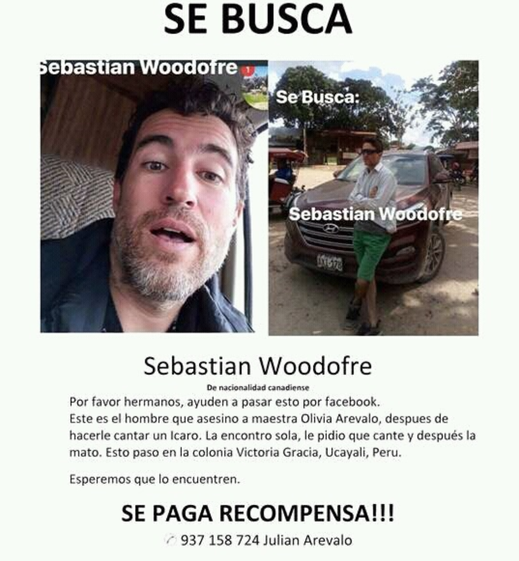 Wanted Poster Of Sebastian Woodroffe For The Murder Of Olivia Arevalo Lomas That Was Released By Tribal Members In The Area