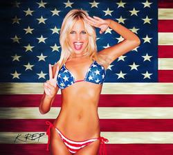 Kourtney Reppert in an American flag swimsuit