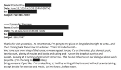Email  shared by Reah Bravo that shows her exchange with Charlie Rose.