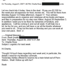 Screenshot of Reah Bravo's email exchange with Charlie Rose.