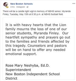 Facebook post in memory of Myranda Finley by New Boston High School