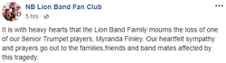 Facebook                              ​ post in memory of Myranda Finley by the NB Lion Band Fan Club