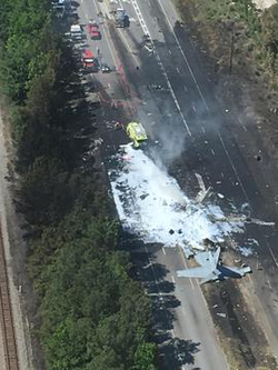 Aerial photo of the crash