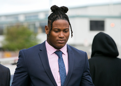 Reuben Foster walking to the Santa Clara Hall of Justice on Thursday May 17, 2018 [2]​