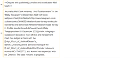 Screenshot of Philip Cross removing information about a court case brought against  Oliver Kamm    [1]