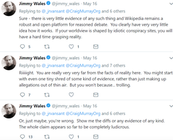 Several Tweets made by Jimmy Wales   defending the edits of Philip Cross.