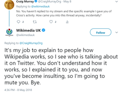 The Twitter reply from a member who asks about the editing activities of Philip Cross.