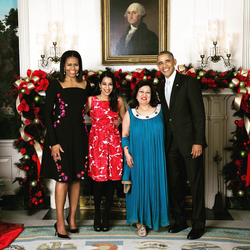 With her mother, then- President Barack Obama, and First Lady Michelle Obama