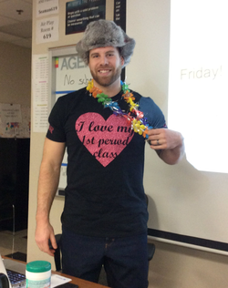 Photo of Jason Seaman wearing accessories chosen by his class for a school fundraiser [6]​