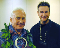 With                               Buzz Aldrin                              ​,                               NASA astronaut                              ​, Apollo 11​ Moonwalker, at annual conference for the Pacific International Space Center for Exploration Systems (PISCES) astronaut training facility in Kona, Hawai'i
