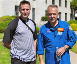 With                               NASA astronaut                              ​                               Douglas Hurley                              ​,                               STS-135                              ​ pilot for the final mission of the US                               Space Shuttle                              ​