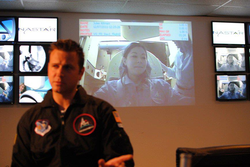 Interviewing for a documentary during the inaugural class of spaceflight training at the NASTAR Center