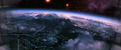 Artist's conception of an alien world as featured in Contact (1997 American film)​ written by Carl Sagan​