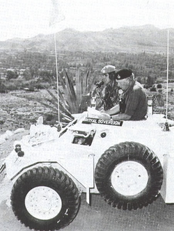 CBF Cyprus, General Sir Desmond Langley helps Lt Pablo Miller to find his way near the Green (Disengagement) Line. B Sqn handed over their Cyprus Role to the 16/5 on 19 January 1984.