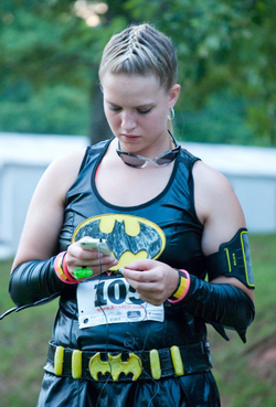 Kayla Sprinkles running in a bat girl costume [4]