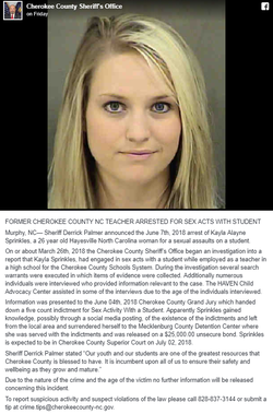Screenshot of the Facebook post by the Cherokee County Sheriff's Office about Kayla Sprinkles' arrest [9]