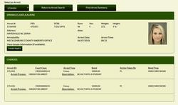 Screenshot of the Mecklenburg County Detention Center arrest record of Kayla Sprinkles