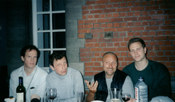 "Starlab ""Time Traveler Party."" Brussels, Belgium. ( L  to  R  ): Hugo de Garis (artificial intelligence), Serguei Krasnikov (Time travel ), Roman Zapatrin (Quantum topology ), Christopher Altman (quantum technologist, commercial astronaut ). May 2001."