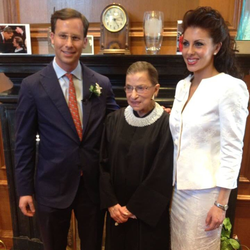Morgan Ortagus and her husband Jonathan Weinberger with Ruth Bader Ginsburg​ [25]​