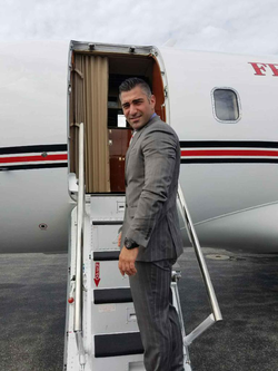 Boarding a private plane