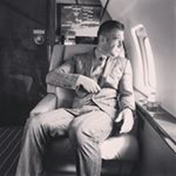 On a private plane
