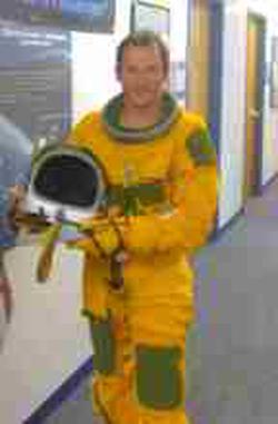 Erik Seedhouse testing an astronaut suit
