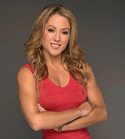 Jennifer Hale dressed in red