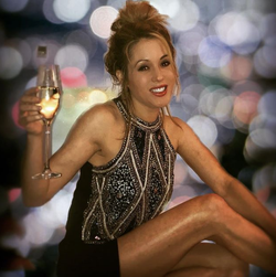 Hale enjoying a glass of wine in London (May 2018)