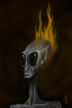 Art Drawing of an Alien. by: Adam Ashley Warren