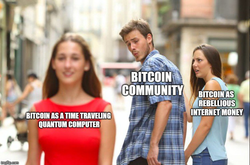 Meme about Bitcoin being a time traveling computer