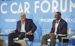 Donald Osborne and Jay Leno​ speaking at an event during the Pebble Beach Concours d'Elegance​ [2]​