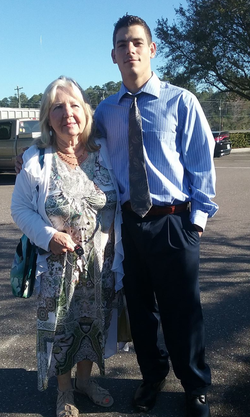 Tommy Roach                              with his grandmother.