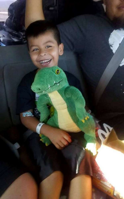 Photo of 5-year-old Vincent Gonzalez going home after being saved by his uncle Victor Mozqueda and released from the hospital.                                                                  [4]                                                               ​
