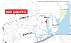 Illustration of The Capital Gazette headquarters of where the shooting took place.