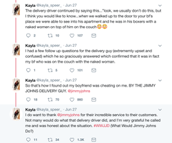 Tweet thread of Kayla Speer regarding her experience with Jimmy John in helping her discover that her boyfriend was cheating on her.