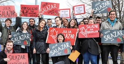 Supporters of Julia Salazar at al rally.