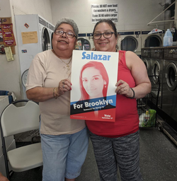 Supporters of Julia Salazar at a meeting.