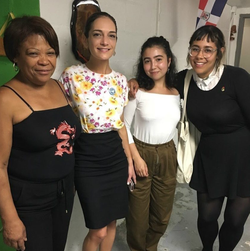 Julia Salazar with community members in Bushwick.