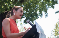 Julia Salazarar the Maria Hernandez Park in Brooklyn speaking on July 2nd, 2018.
