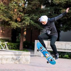 Sara Mudallal skateboarding