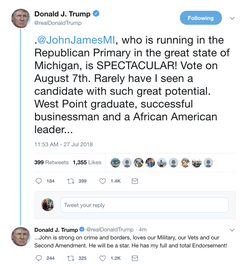 President Donald Trump                              's endorsement of John James                                                                  [24]                                                               ​